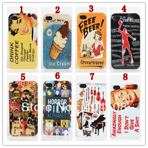 45 styles! 2pcs/lot Retro mobile phone case Vintage Hard Plastic cover shell skin for iPhone 4 4s 5 5s colorful cell phone case