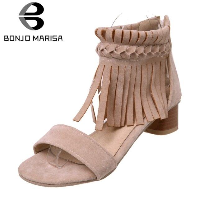 BONJOMARISA Cộng Với Kích Thước 32-46 Mùa Hè Phụ Nữ Đấu Sĩ Dép Phụ Nữ Rome Phong Cách Rìa Rìa Giày Phụ Nữ Med Chunky Gót Giản Dị giày dép