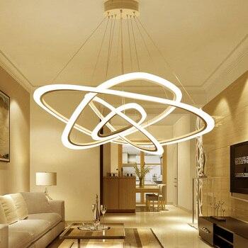 Acrylic Ring LED Chandeliers Loft Illumination Nordic Suspension Luminaire Art Deco Lighting Fixtures Modern Hanging Lights Chandeliers