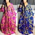 Новый 2016 марка высокое качество полный рукав платья печати v-образным вырезом макси платье сексуальные женщины длинное платье SMR8369