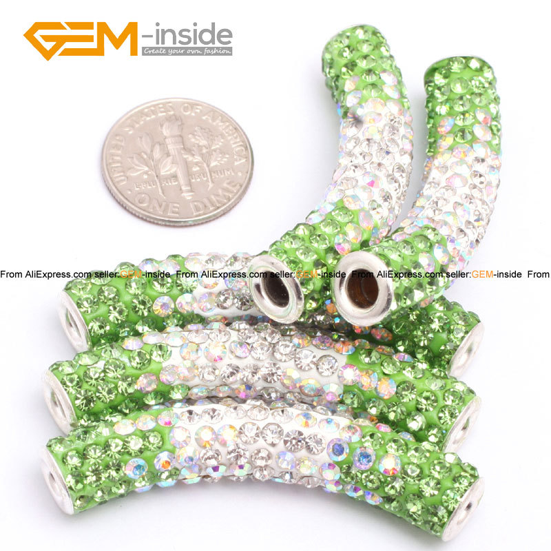 Beads Strict Gem-inside Column Clay Rhinestones Cz Crystal Pave Disco Ball Beads For Jewelry Making Bracelet 9x48mm Diy Jewellery 5pcs/lot Ture 100% Guarantee