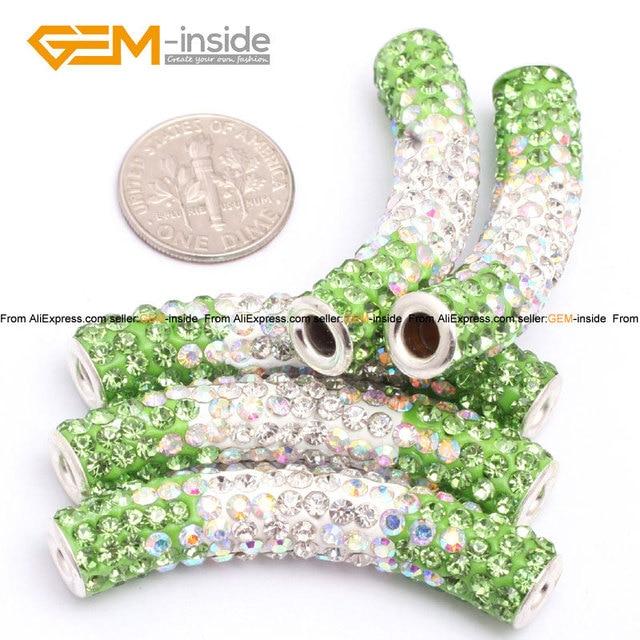 Gem-inside Column Clay Rhinestones CZ Crystal Pave Disco Ball Beads For  Jewelry Making Bracelet 9x48mm DIY Jewellery 5pcs Lot 6a255294df41