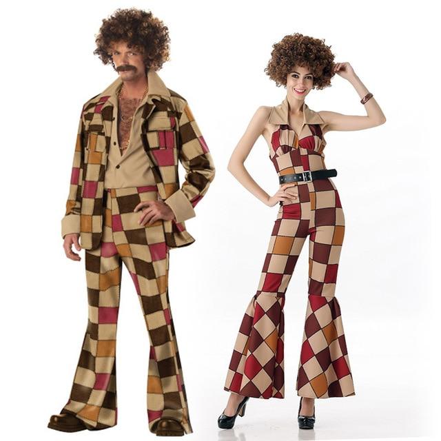 Hot Men 60s 70s Retro Hippie Costume Vintage 1960s 1970s Go Girl Disco Costumes Mens