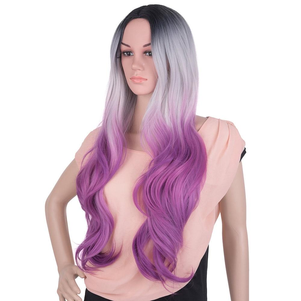 Feilimei Ombre Peruci gri Sintetice Long Favy femei 26Inch 300g Purpuriu maro negru Păr Femeie