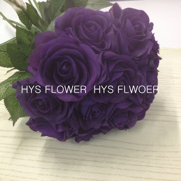 Free Shipping Real Touch Dark Purple Rose Flowers For Wedding Decoration Latex Small