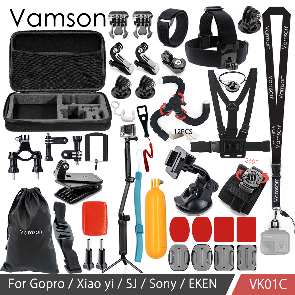 Vamson for Gopro hero 6 accessories set for gopro kit mount for SJ4000 hero 4 3 2 1 Black for SJCAM M10 for SJ5000 case VK01 все цены
