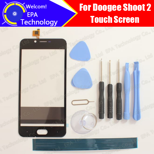 5.0'' DOOGEE Shoot 2 Touch Screen Glass 100% Guarantee Original New Glass Panel Touch Screen For DOOGEE Shoot 2+ tools+Adhesive