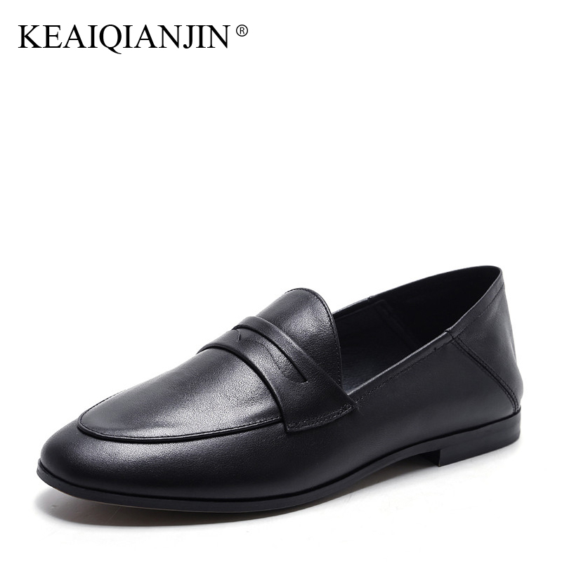 KEAIQIANJIN Woman Genuine Leather Flats Plus Size 33 - 42 Spring Autumn Loafers Shoes Black Genuine Leather Loafers Lazy Shoes keaiqianjin woman sheepskin flats black red silvery plus size 33 41 spring autumn derby shoes lace up genuine leather shoes