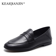 KEAIQIANJIN Woman Genuine Leather Flats Plus Size 33 – 42 Spring Autumn Loafers Shoes Black Genuine Leather Loafers Lazy Shoes