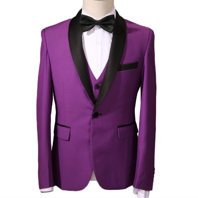 Yffushi hombres traje púrpura/rojo Tuxedo terno masculino 3 unidades ...