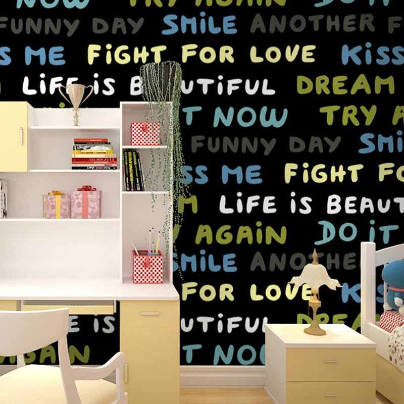 Baby Wallpaper Home Decor Cartoon Black And White Wallpaper Roll Kindergarten Children S Room Bedroom Decor English Letter Word