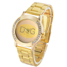 Relojes Mujer New Golden Stainless Steel Rhinestone Women quartz watch Fashion Luxury Brand DQG Women Sport Digital Watch Chasy new arrival famous brand wathes full crystal rotate watch women luxury style watch full zircon rhinestone watch relojes mujer