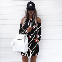 S 3XL Casual Loose Mini Dresses 2018 New Spring Print Hooded Strapless Long Sleeve Dress Fashion