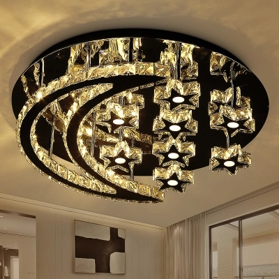 Remote Control Dimmable Chrome Chancelier For Foyer Bedroom Lustre De Crystal Plated Steel Star & Moon Design Ceiling Chandelier