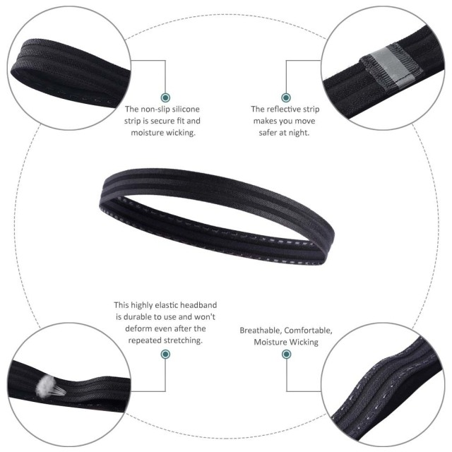Non Slip Men Women Sweatband Sport Fitness Headband Tennis Badminton Basketball Running Headbands Hair Sweat Band