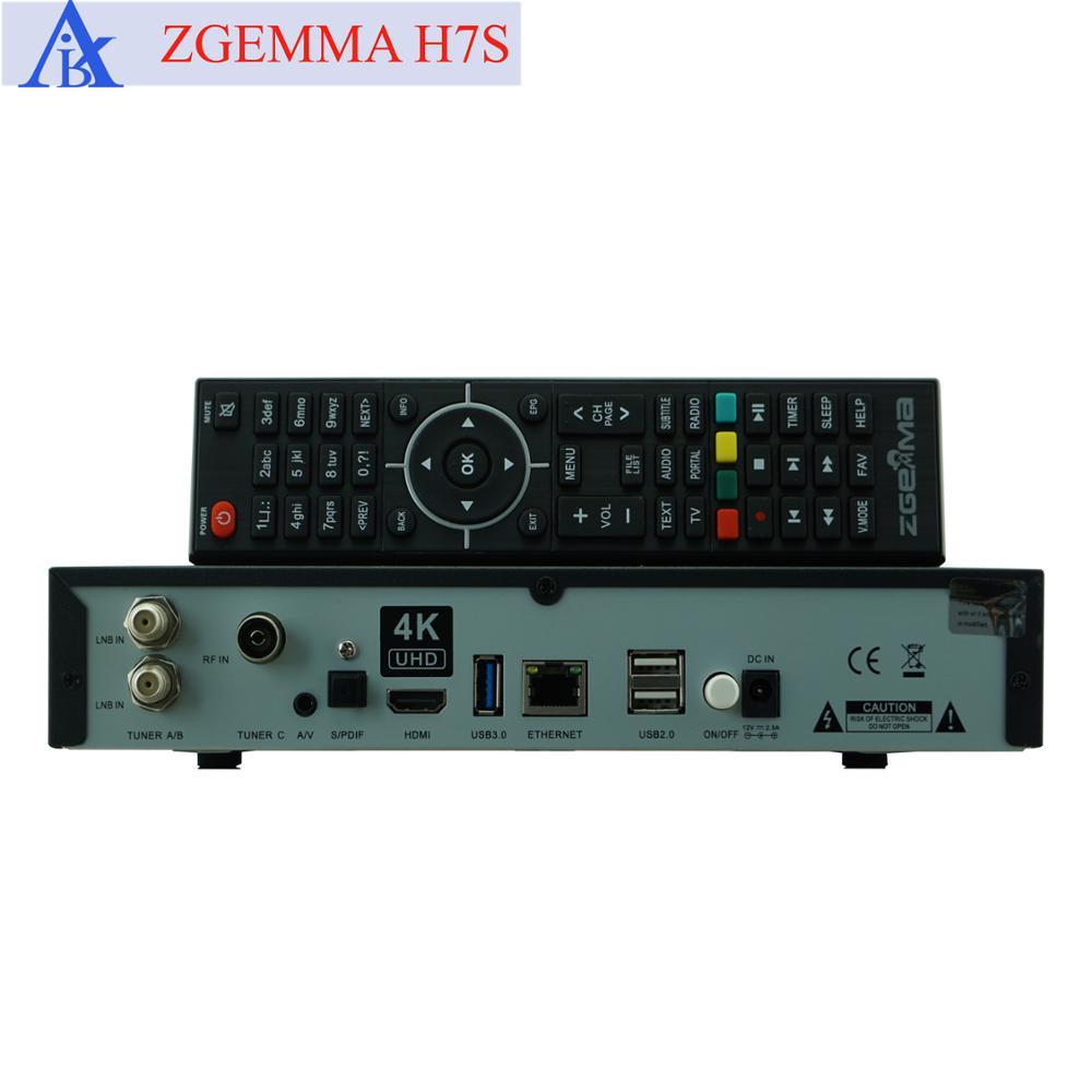 US $489 0 |2pcs/lot 4K UHD Kodi TV Box ZGEMMA H7S Ci+ Conax Multistream QT  Stalker plug in Decoder H 265 DVB S2X+2*DVB T2/C Triple Tuners-in Satellite