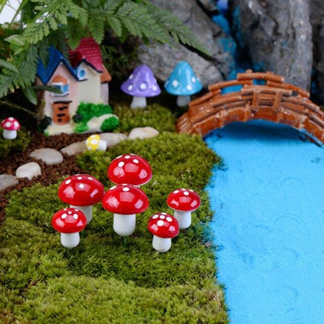 Delicieux 10pcs Mini Mushroom Terrarium Figurines Fairy Garden Miniatures Party Garden  Ornament Resin Crafts Decorations Mushrooms