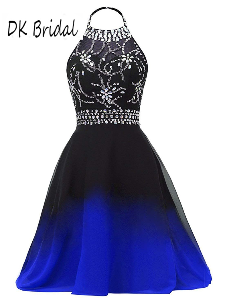 DK Bridal Halter Gradient Chiffon Bridesmaid Dresses Short Black Blue Ombre Beaded Formal Gowns Prom Party Dresses DK1808