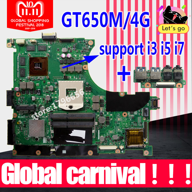 купить New USB baord+N56VZ Motherboard GT650M/4GB For ASUS N56V N56VJ N56VV N56VB laptop Motherboard N56VZ Mainboard N56VZ Motherboard по цене 4399.28 рублей