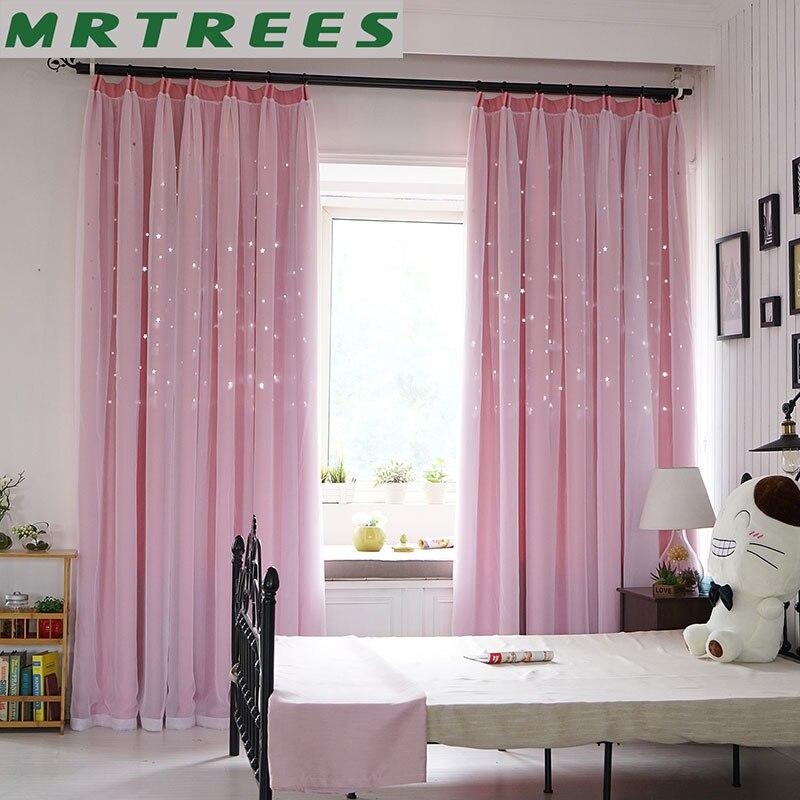 Cortinas blackout para sala de estar rosa estrela princesa meninas quarto tratamento janela crianças porta cortinas tecido cortinas