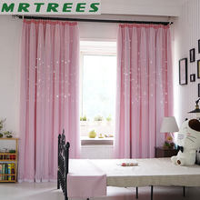 Blackout Curtains for Living room Pink Star Princess Girls Bedroom Window Treatment kids Door Curtains Fabric Drapes Cortinas(China)