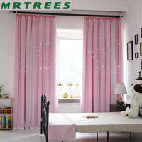 Blackout Curtains for Living room Pink Star Princess Girls Bedroom Window Treatment kids Door Curtains Fabric Drapes Cortinas
