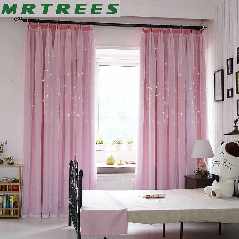 Traitement des fenêtres de la chambre chambre, rideaux occultants pour salon avec étoile rose pour filles rideaux de porte pour enfants rideaux en tissu