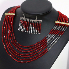 New arrival fashion special design earrings 7row necklace for women tip red silver-color glass crystal costume jewelry set B1908