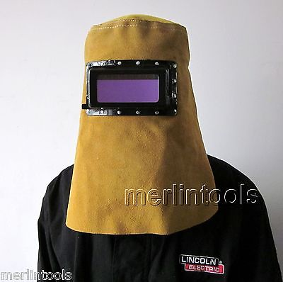 Leather Welding Hood Helmet Auto Darking Filter Lens safurance leather hood welding helmet