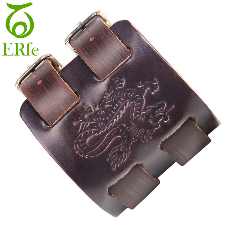 ER Viking Dragon Leather Bracelet Men Wide Cuff Braclet Male Hip Hop Double Layer Armband Punk Chinese Jewelry LB096
