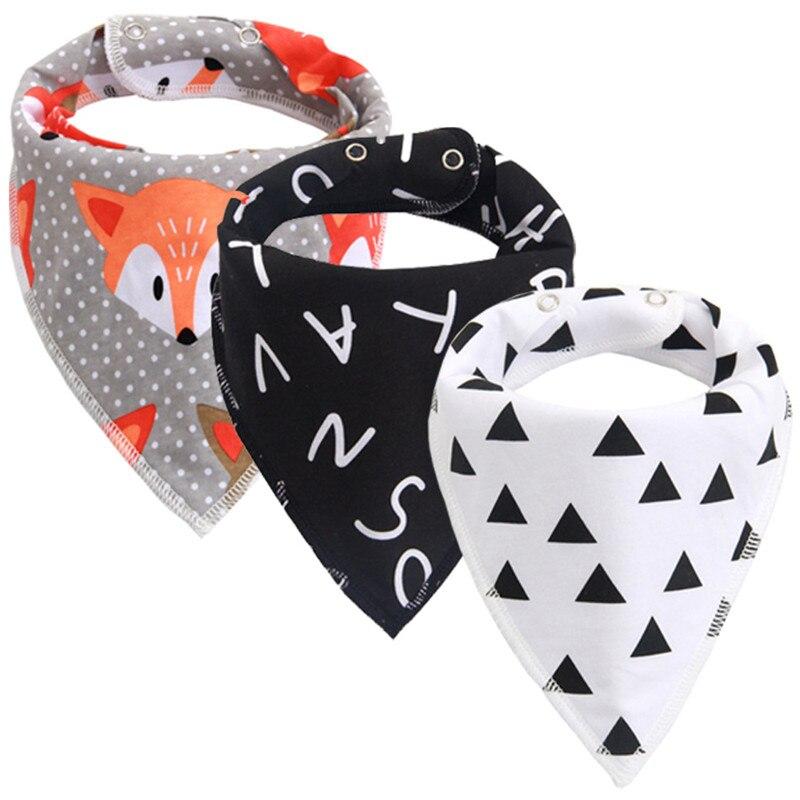 New Cotton Baby Bibs Burp Cloth Baby Stuff Babador Cartoon Arrow Wave Triangle Bandana Bibs Reusable Infant Toddler Bib Apron