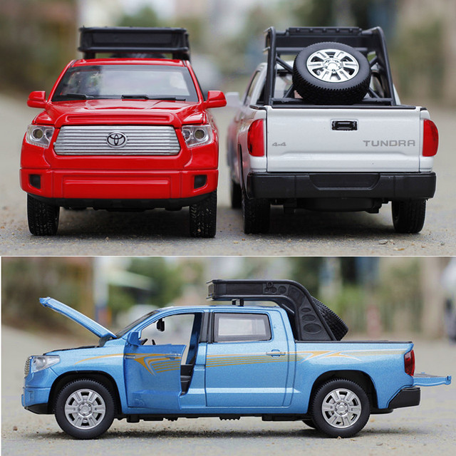 1:32 Scale Tundra Alloy Car Three Colors Acousto-optic Metal Cars Model Pull Back Toys Classic Simulation Auto Brinquedo