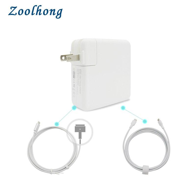 87 W USB-C adaptateur secteur type-c chargeur avec 1.8 M type-c charge et USB-C à MacSafe 2 câble cordon pour Macbook Retina Pro Air