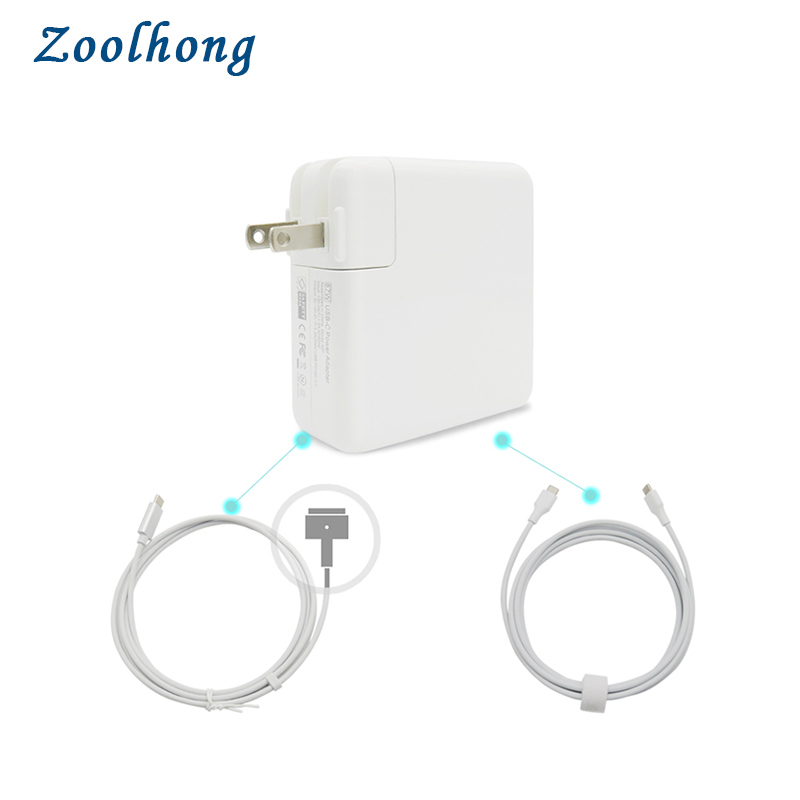 87W USB-C Power Adapter  With 1.8M Type-C Charging And USB-C To  MacSafe 2 Cable Cord For 45W 60W 85W  Macbook Retina Pro Air