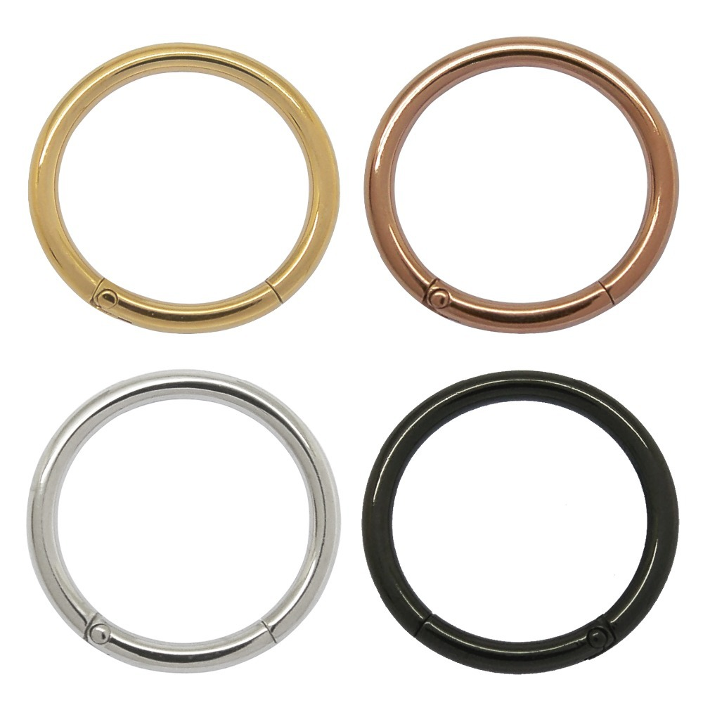 One pair 1.2mm 16G 316l stainless steel hinged hoop ring,nose,lips ...