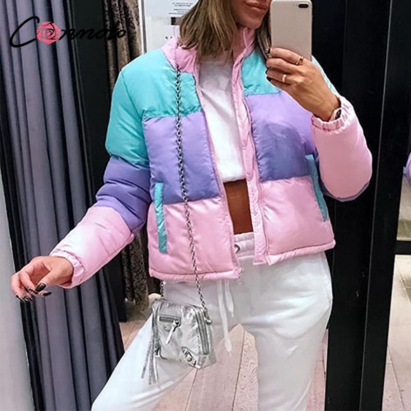 Conmoto Casual   Parkas   Color Stripe Jackets Women's Padded Pockets Coats 2018 Autumn Winter Zipper Long Sleeves Outerwear