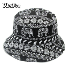 Winfox New  Women Mens Reversible Canvas Black Vintage Elephant Boonie Fisherman Hats Hip Hop Chapeau