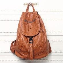 New Designer Washed Leather Bag High-grade Leather Backpacks Bolsos Mujer Retro Backpack Shoulder Bag for Girls