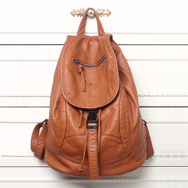 New Designer Washed Leather Bag High-grade Leather Women Backpacks Bolsos Mujer School Backpack for Girls Travel Bag Rucksack