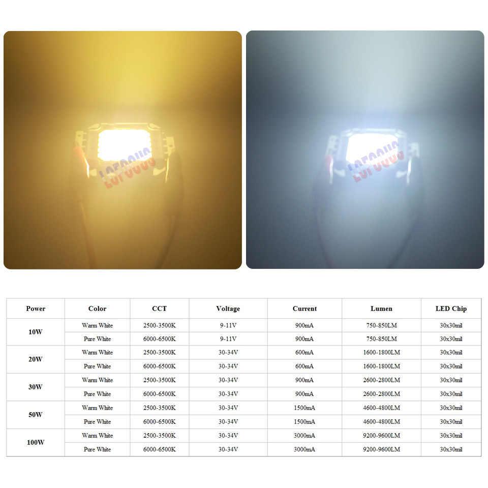 Высокомощный светодиодный COB Чип 10 Вт 20 Вт 30 Вт 50 Вт 100 Вт SMD светильник Теплый чистый белый для DIY 10 20 30 50 100 Вт уличный светодиодный светильник для еды