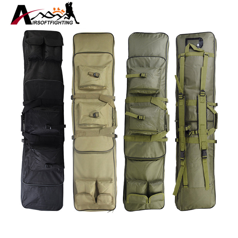 Tactical Hunting 120cm Dual Rifle Bag with Shoulder Strap Gun Square Carry Backpack Protection Shockproof CS Game Gun Carry Case 120cm 47 outdoor military tactical hunting gun bag riflescope pack square carry bag protection case hunting gun accessories