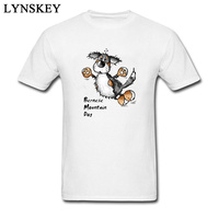 Jumping Bernese Mountain Dog Cartoon Casual T-shirt For Man Short Sleeve White Personality Fun Tees Shirt
