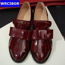 PLUS Size 33-42 Patent leather Vintage FLAT Oxford Shoes Woman Flats 2017 Fashion tassel Brogue Oxfords women shoes moccasins