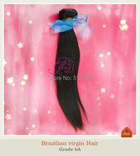 1pcs/lot Brazilian Virgin Hair straight human hair weaves 12-28inch 95-100g/pcs natural color free tangle