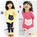 Spr y Aut Cute Girls 2 unids Conjuntos de Dibujos Animados de La Camiseta + Pantalones del Ocio Puro Algodón Deporte Viajes Muchacha de Los Niños paño