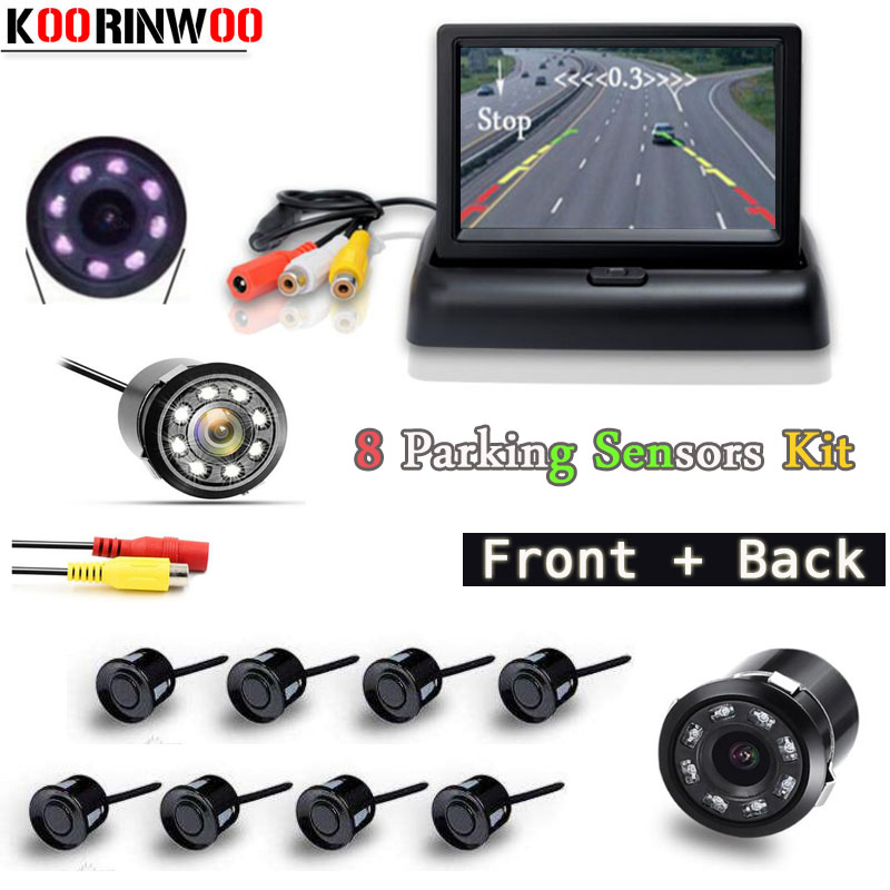 цена на Koorinwoo Video Parktronic 12V Car Parking Sensors 8 Radars 4.3 inch Car Monitor Screen Alarm Front Camera Car Rear view Camera