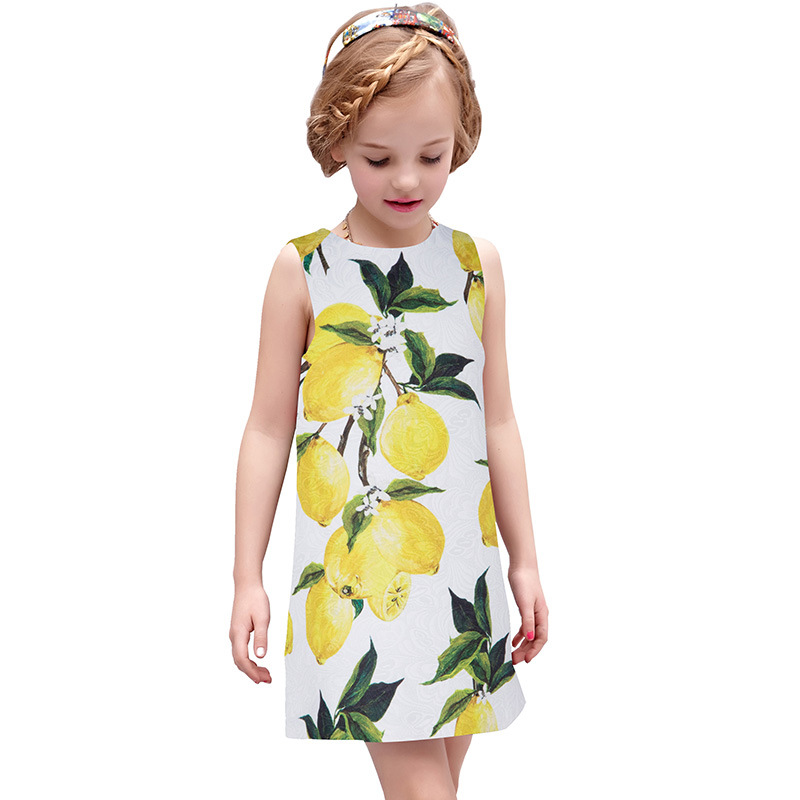 ФОТО Fashion Girls Dress Kids Princess Dresses Children Lemon Print Vest Clothing for Party