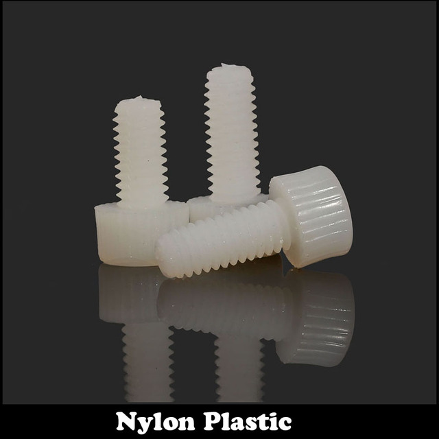 M8 M8*8/10/12/16/20/25/30 M8x8/10/12/16/20/25/30 White Nylon Plastic Insulation knurling Cap Hex Hexagon Socket Allen Head Screw