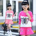 Cartoon Clothes Set for Girls Clothing Suits Baby Butterfly Tops+Skirt Sets Spring Children Costumes 3 4 5 6 7 8 9 10 11 12 year