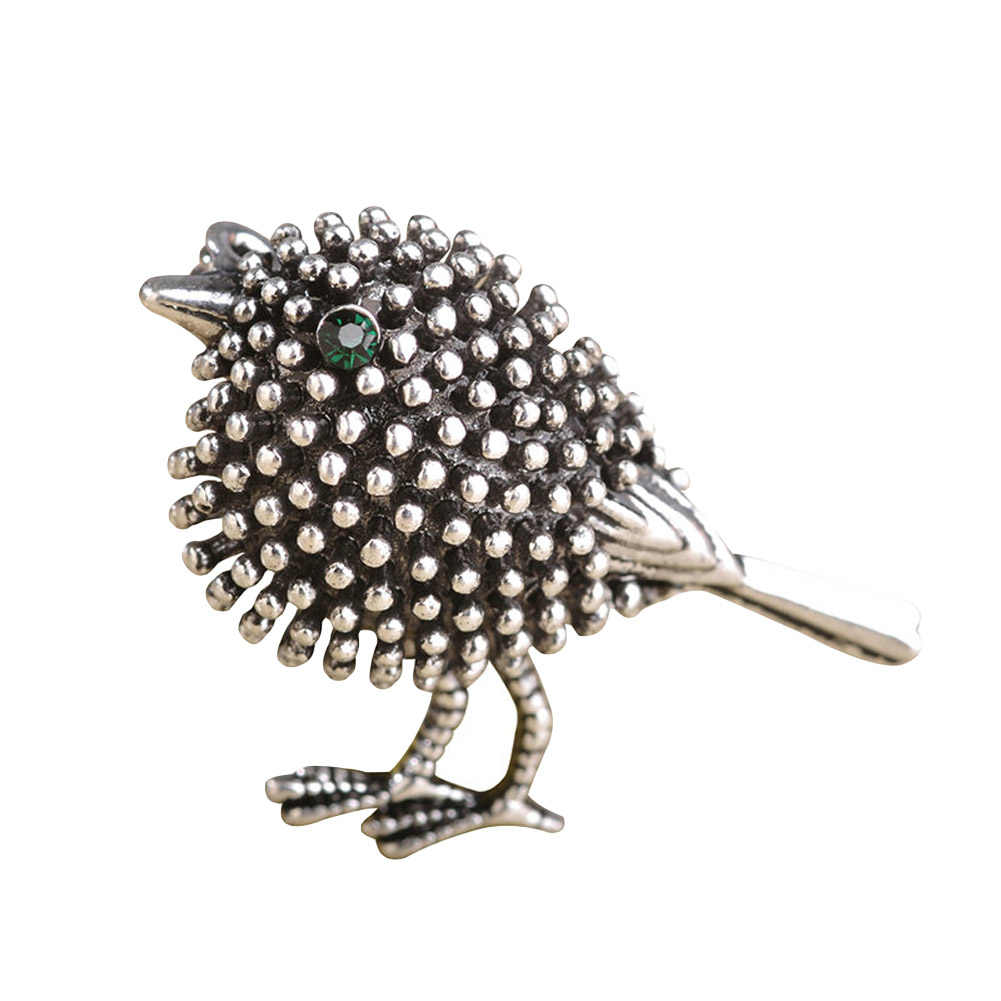 Silver gold color Cute Bird Brooches For Women Kids Alloy Beads Broches Lapel Pins Collar Tips Jewelry New Year Gifts